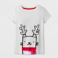Girls' Short Sleeve Holiday T-Shirt - Cat & Jack Cream L, White