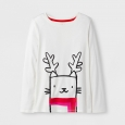 Girls' Long Sleeve Holiday T-Shirt - Cat & Jack Cream S, White