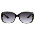 Women's Rectangle Sunglasses with Print Detail - Black