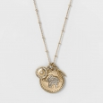 Women's Long Gold Strength Necklace Talisman W/ Peve Elephant Wishbone Sun Coin