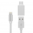 6Ft Lightning Usb 8 Pin Charging Cable with Standard Usb to Usb-C 6Ft Adapter, W
