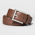 Men's Faux Leather Laser Cut Belt - Goodfellow & Co - Brown M