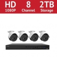 LaView 8 Channel 1080p IP NVR with (4) 1080p Bullet Cameras and a 2TB HDD