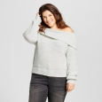 Women's Plus Size Textured Off the Shoulder Sweater - A New Day Gray 1X