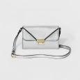 Women's Flap-Close Wallet with Crossbody Strap - A New Day Silver