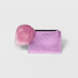 Zip-top Card Case With Faux Fur Pom - A Day Pink Color