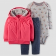 Baby Girls' 3pc Front Bow Hooded Fleece Set - Just One You Made by Carter's