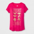 Girls' DC Comics Justice League Shields Short Sleeve T-Shirt - Fuchsia XS, Pink