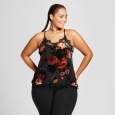 Women's Plus Size Floral Velvet Burnout Tank - Xhilaration Gray/Red 2X