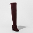 Women's Penelope Heeled Over-the-knee Boots - Burgundy - Size:6.5