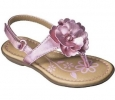 Girls Pink Sandals Size 5 T-strap Metallic Floral Toddler Cherokee