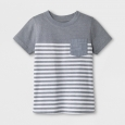 Toddler Boys' Pocket Short Sleeve T-Shirt - Cat & Jack Gray Stripe 3T