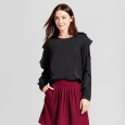 Women's Ruffle Sleeve Blouse - A New Day Black Xxl