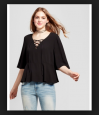 Mossimo Supply Co Women's Woven Lace-up Boho Blouse Black Sz M